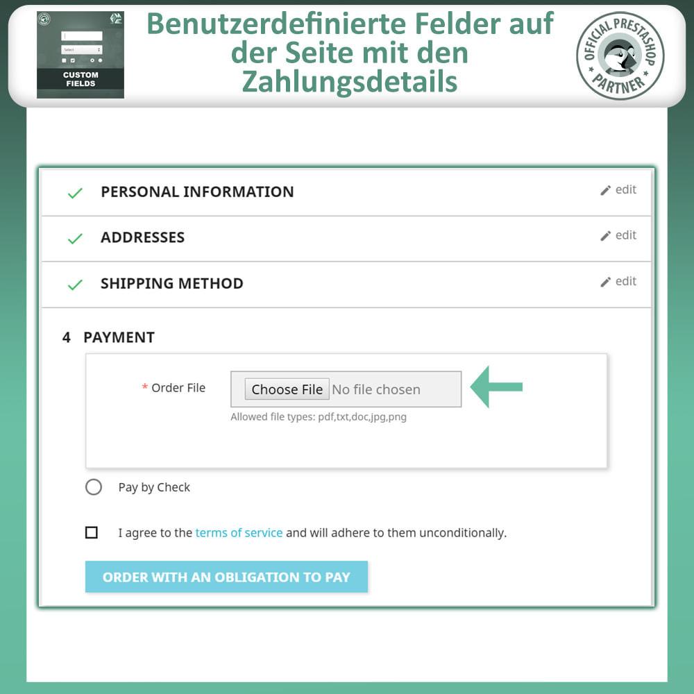 module - Anmeldung und Bestellvorgang - Benutzerdefinierte Felder, Fügen Sie Feld zur Checkout - 7