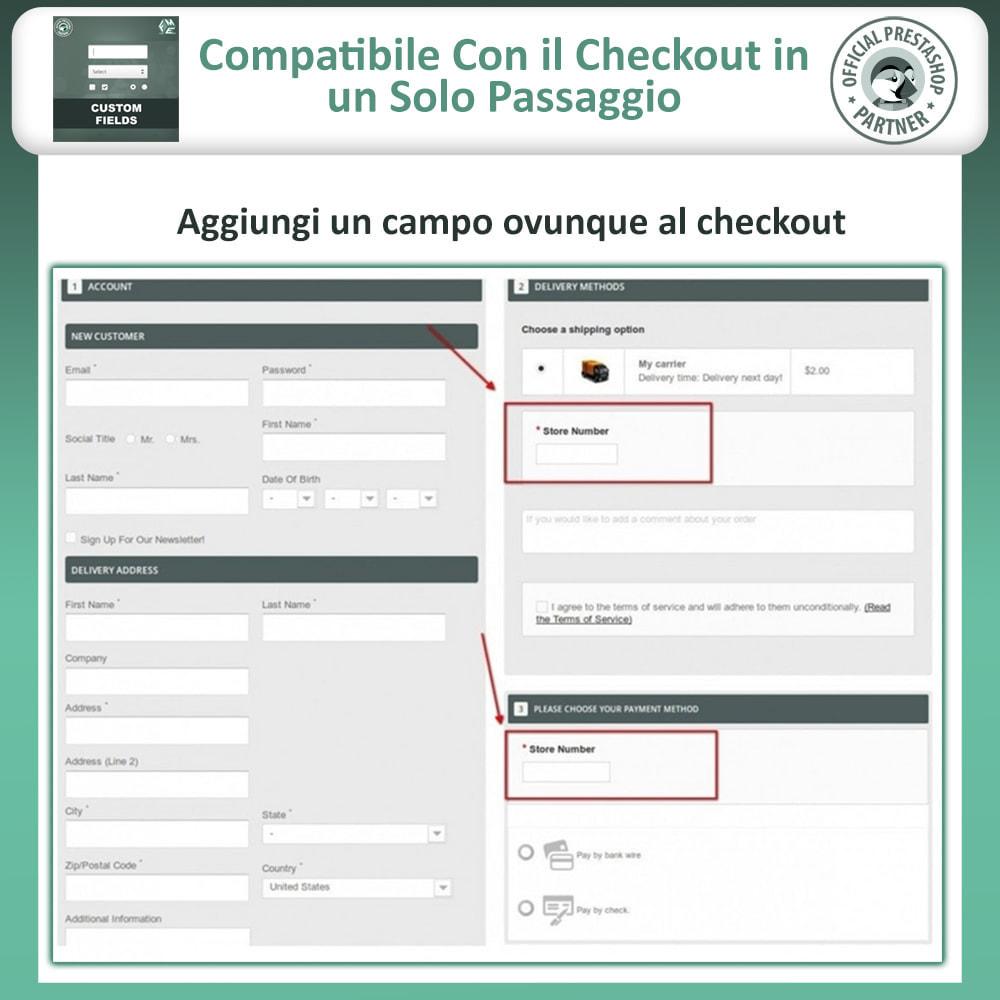 module - Iscrizione e Processo di ordinazione - Campi Personalizzati,  Aggiungi Campo alla di Checkout - 3