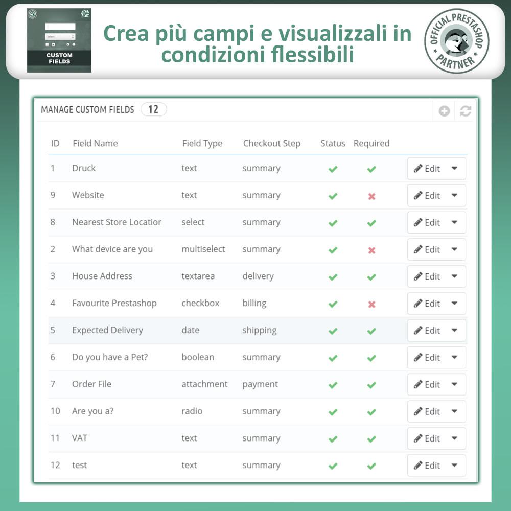 module - Iscrizione e Processo di ordinazione - Campi Personalizzati,  Aggiungi Campo alla di Checkout - 9