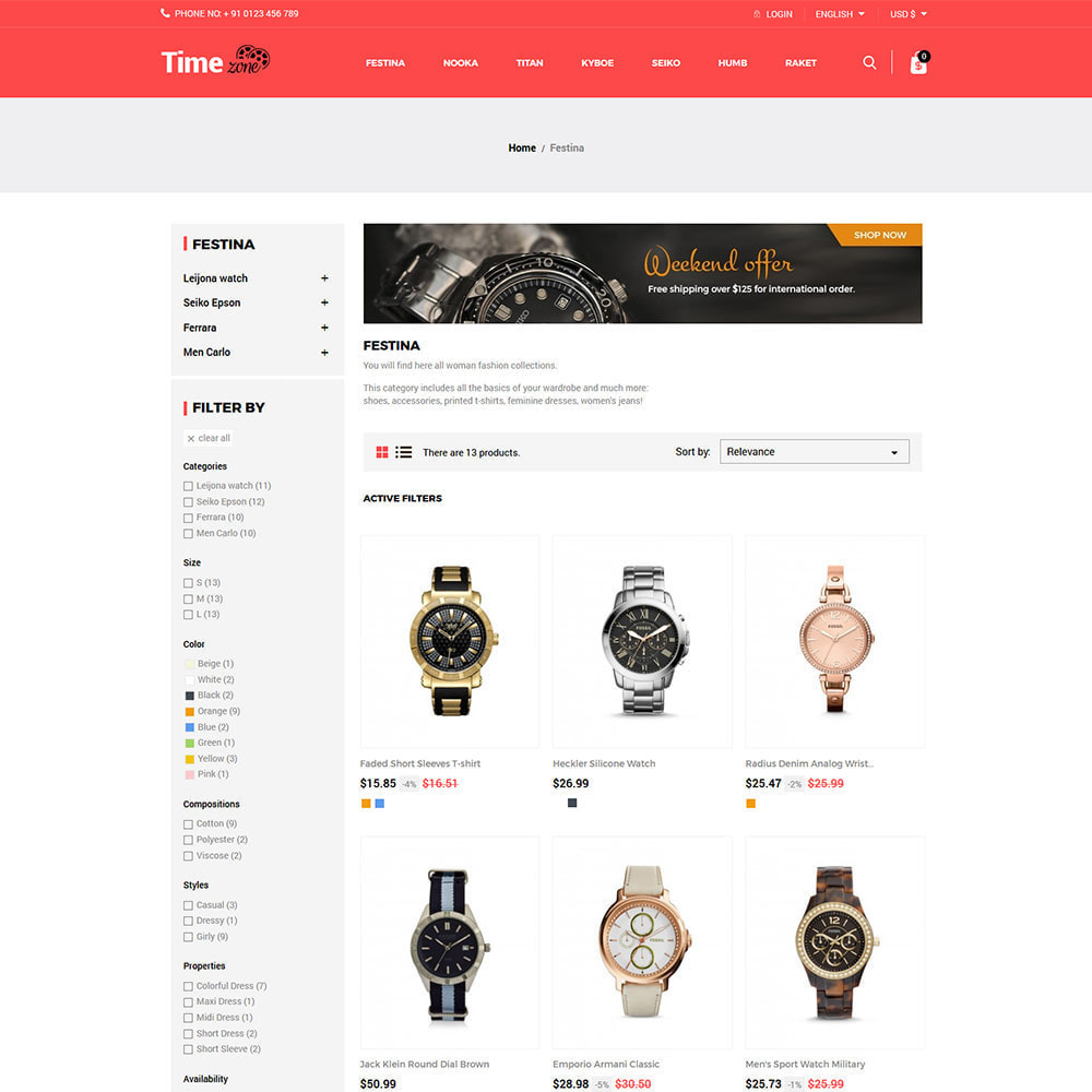 theme - Fashion & Shoes - Luxury Watch  - Timezone Accessories Store - 3