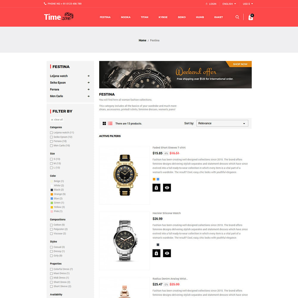 theme - Fashion & Shoes - Luxury Watch  - Timezone Accessories Store - 4
