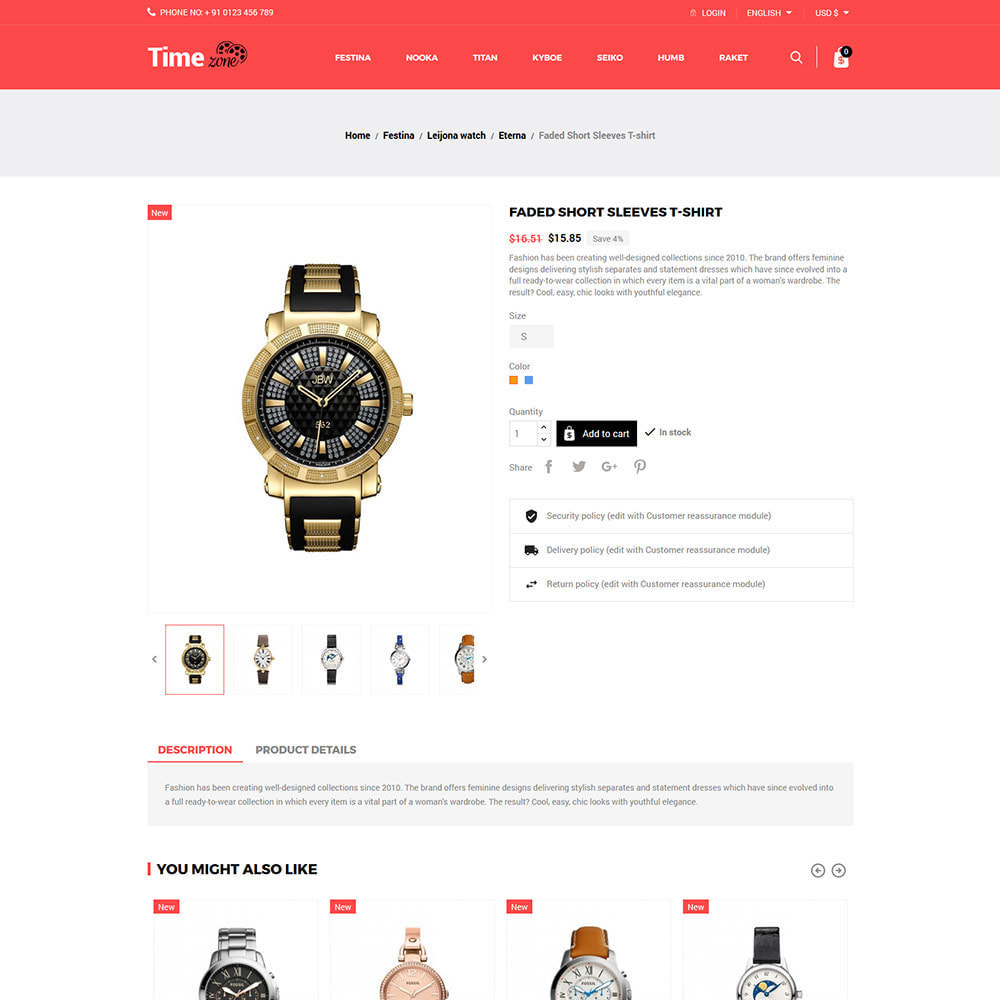 theme - Fashion & Shoes - Luxury Watch  - Timezone Accessories Store - 5