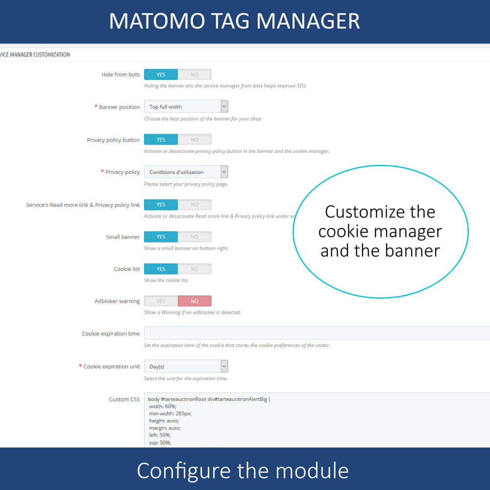 module - Администрация - Matomo tag manager + Cookie manager & banner (GDPR) - 6