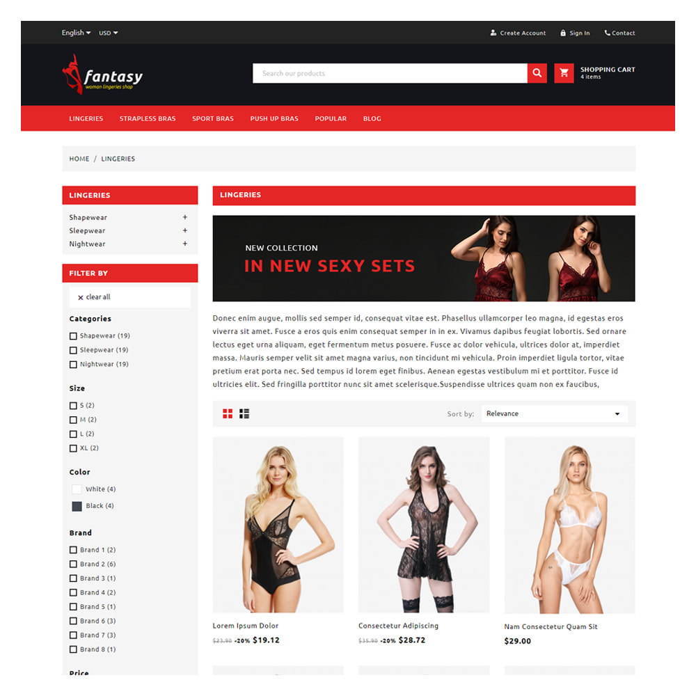 theme - Lingerie & Adult - Fantasy Lingerie & Adult Shop - 3