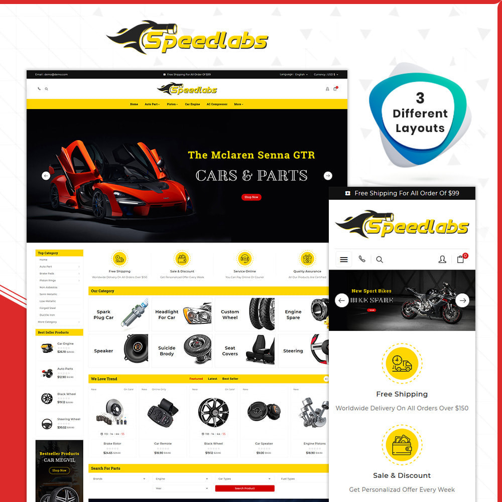 theme - Automotive & Cars - Auto Part – Speedlabs Mega Shop - 1