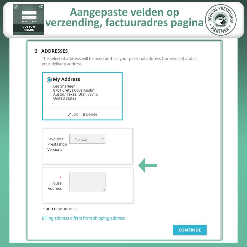 module - Registratie en Proces van bestellingen - Aangepaste Velden: Voeg extra veld toe aan uitchecken - 5