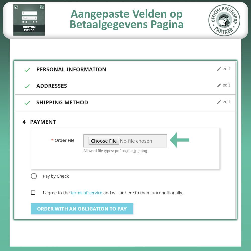 module - Registratie en Proces van bestellingen - Aangepaste Velden: Voeg extra veld toe aan uitchecken - 7