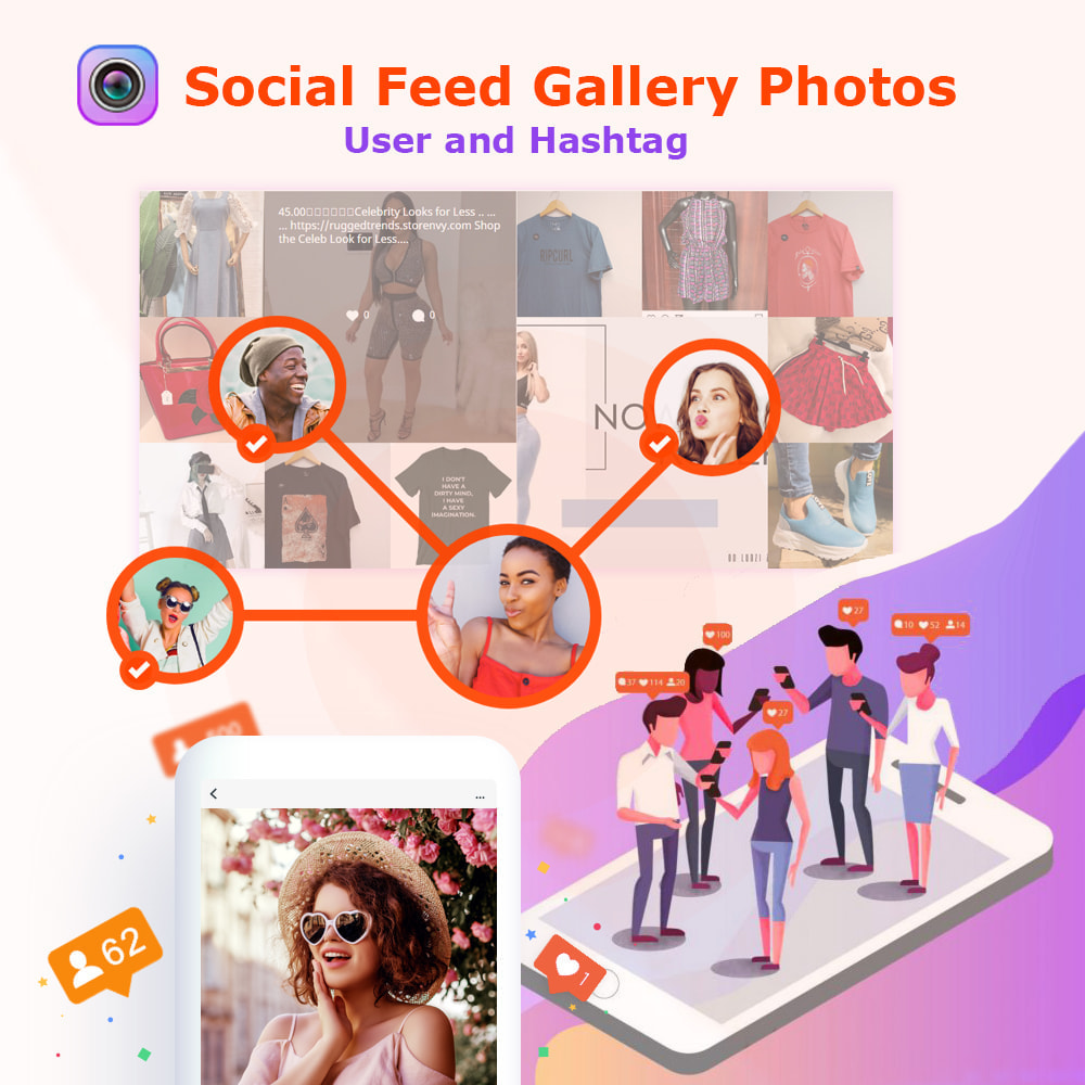 module - Prodotti sui Facebook & Social Network - Social Feed Gallery Photos User and Hashtag - 1