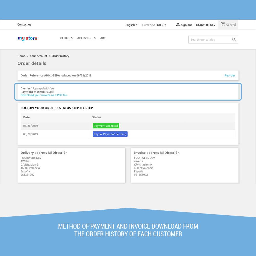 module - Оплата банковской картой или с помощью электронного кошелька - PayPal surcharge extra fee - 10