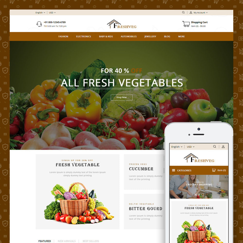 theme - Food & Restaurant - FreshVeg - Grocery Store - 1