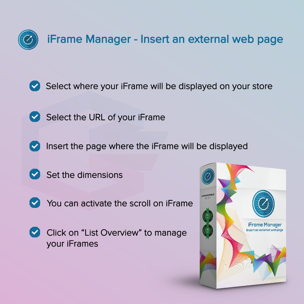 module - Page Customization - iFrame Manager - Insert an external web page - 1