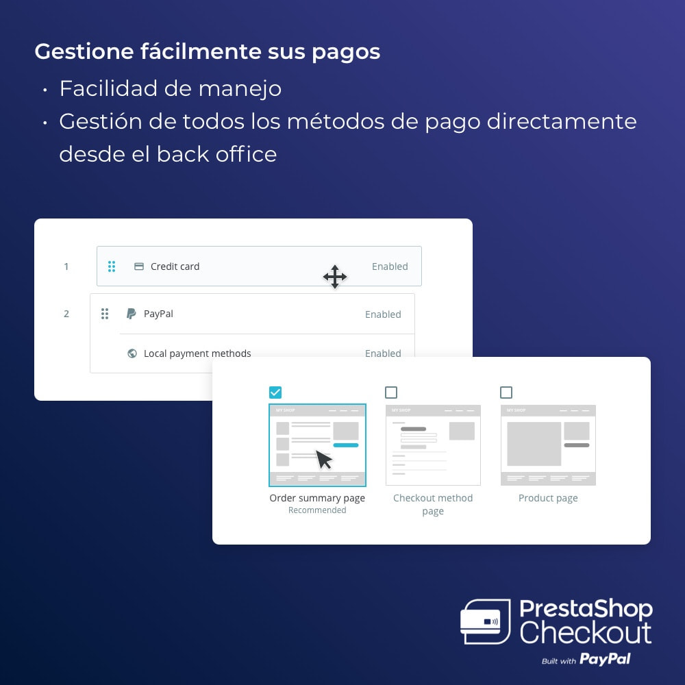 module - Pago con Tarjeta o Carteras digitales - PrestaShop Checkout 2.0 built with PayPal - 3