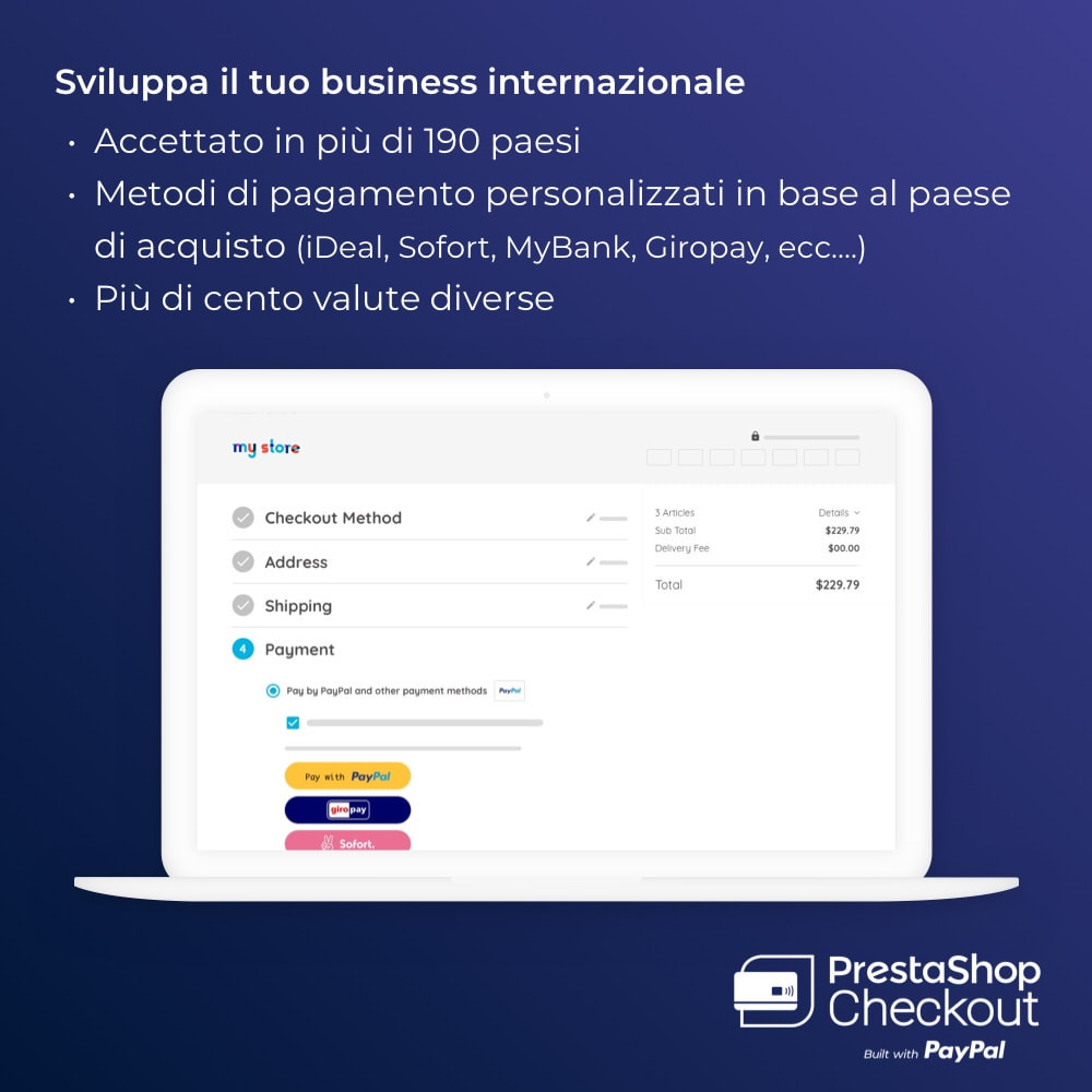 module - Pagamento con Carta di Credito o Wallet - PrestaShop Checkout built with PayPal - 6