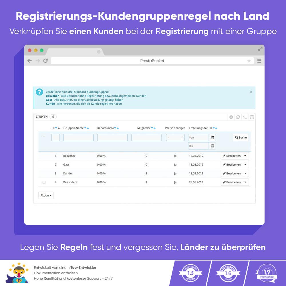 module - Kundenverwaltung - Registrierungs-Kundengruppenregel nach Land - 1