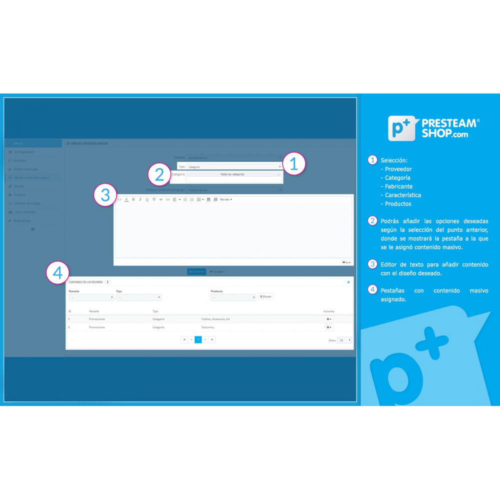 module - Informaciones adicionales y Pestañas - Product Extra Tabs - Pestañas informativas adicionales - 11
