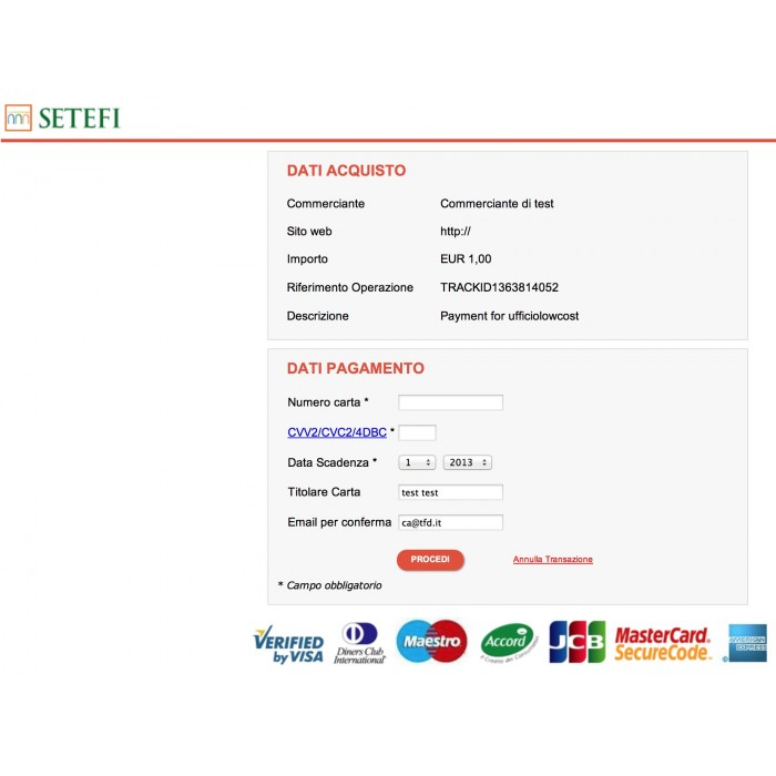 module - Creditcardbetaling of Walletbetaling - Payment with Credit Card by setefi Intesa San Paol - 2