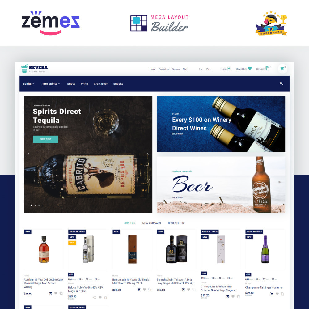 theme - Drink & Wine - Beveda - Alcohol Shop - 1
