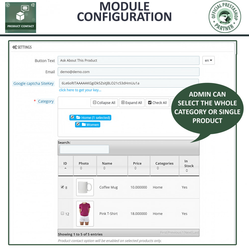 module - Contactformulier & Enquêtes - Product Contact - Enquiry Form - 5
