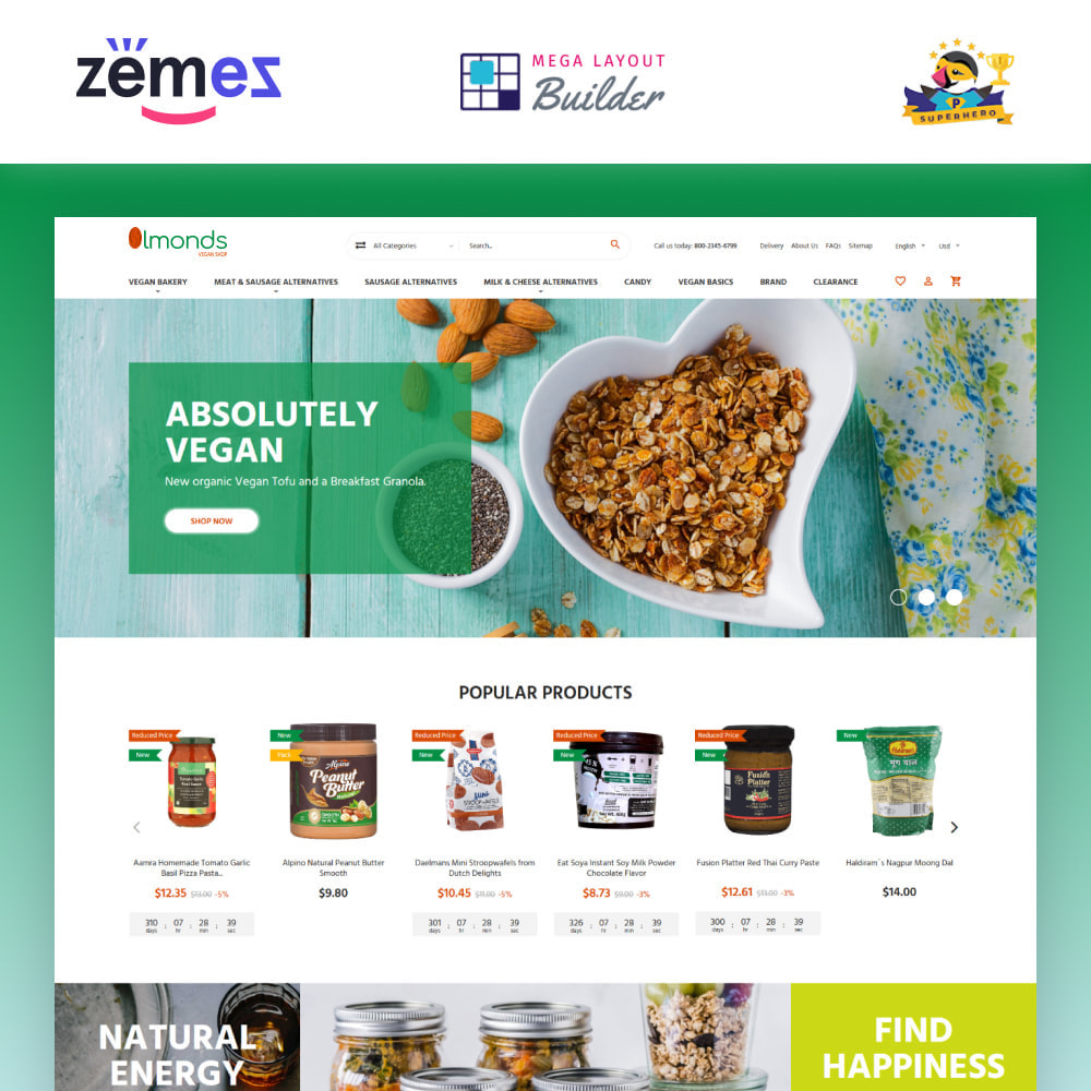 theme - Lebensmittel & Restaurants - Almonds - Vegan Shop - 1