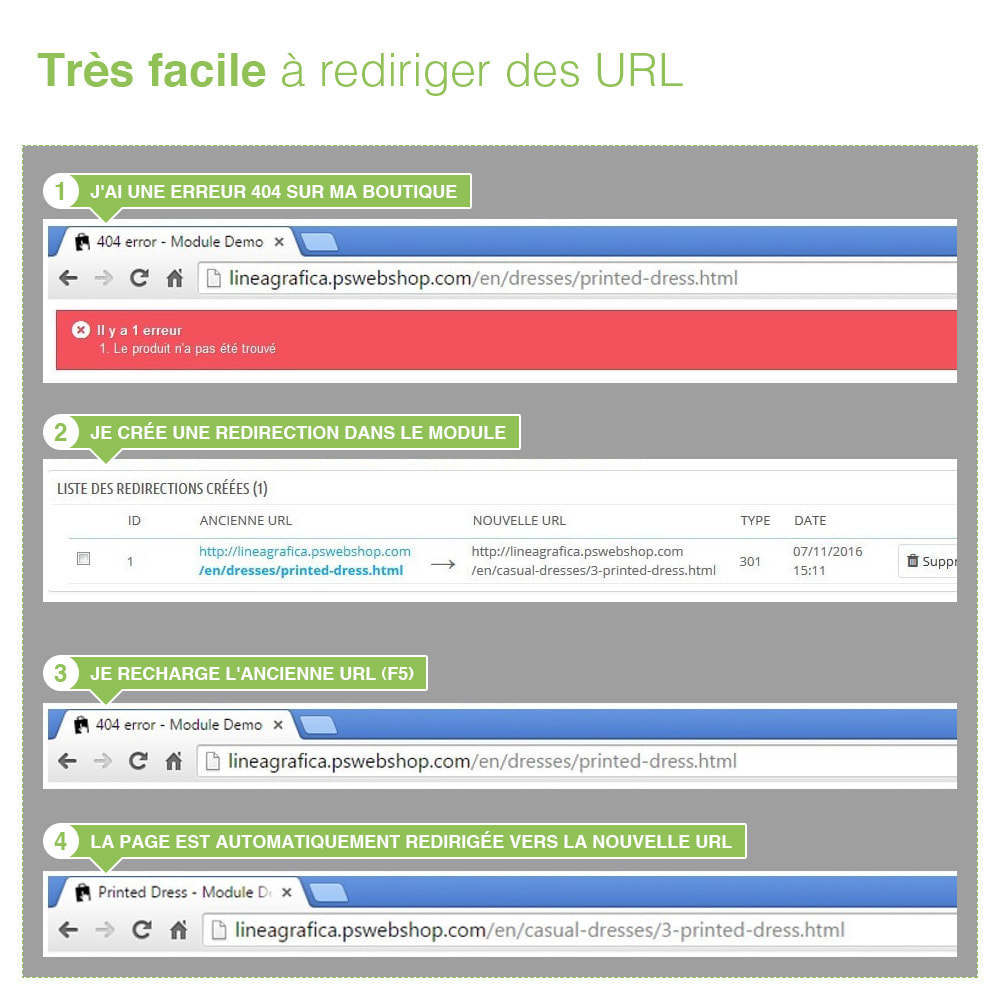 module - URL & Redirections - Redirections 301, 302, 303 des URLs et 404 - SEO - 8