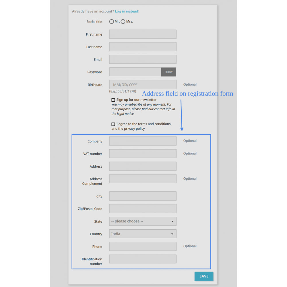 module - Front-Office-Funktionen - Add Customer Address On Registration Form - 4