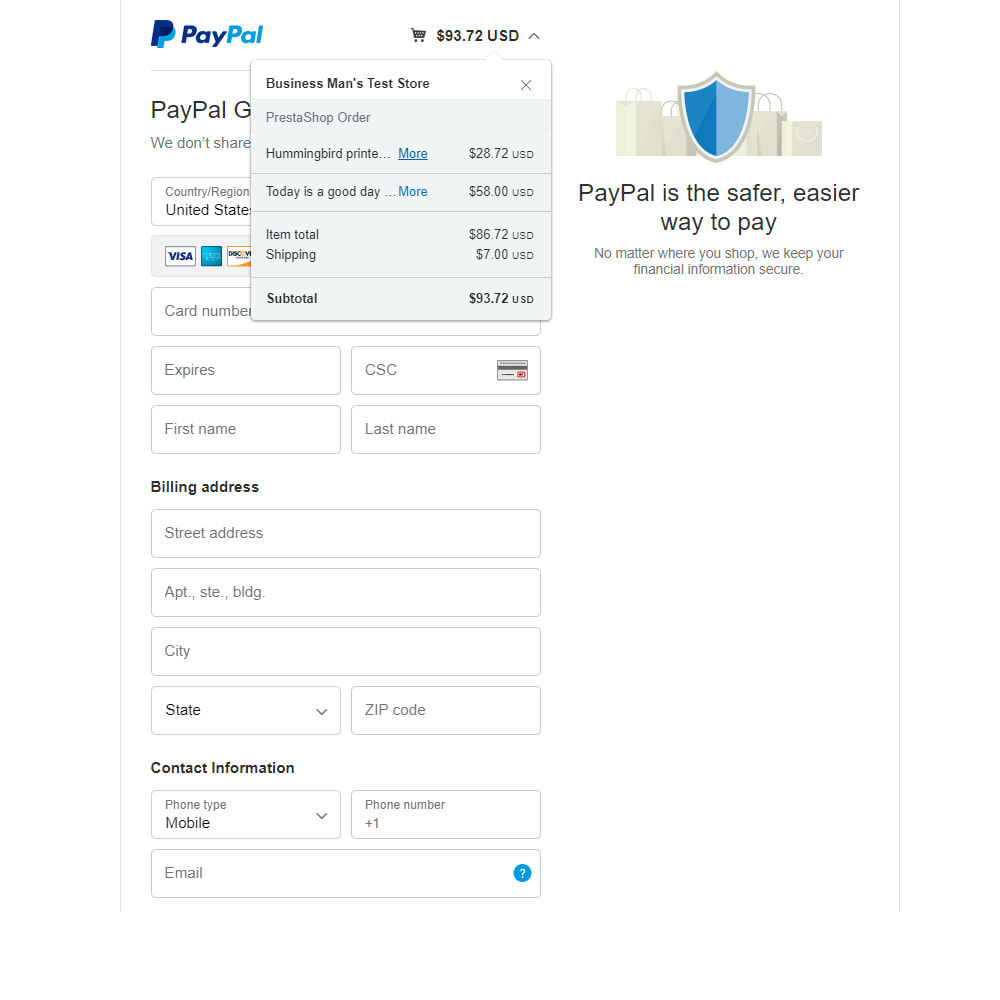 module - Payment by Card or Wallet - PayPal Standard - 4