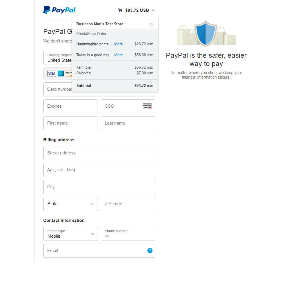 module - Оплата банковской картой или с помощью электронного кошелька - PayPal Standard - 4