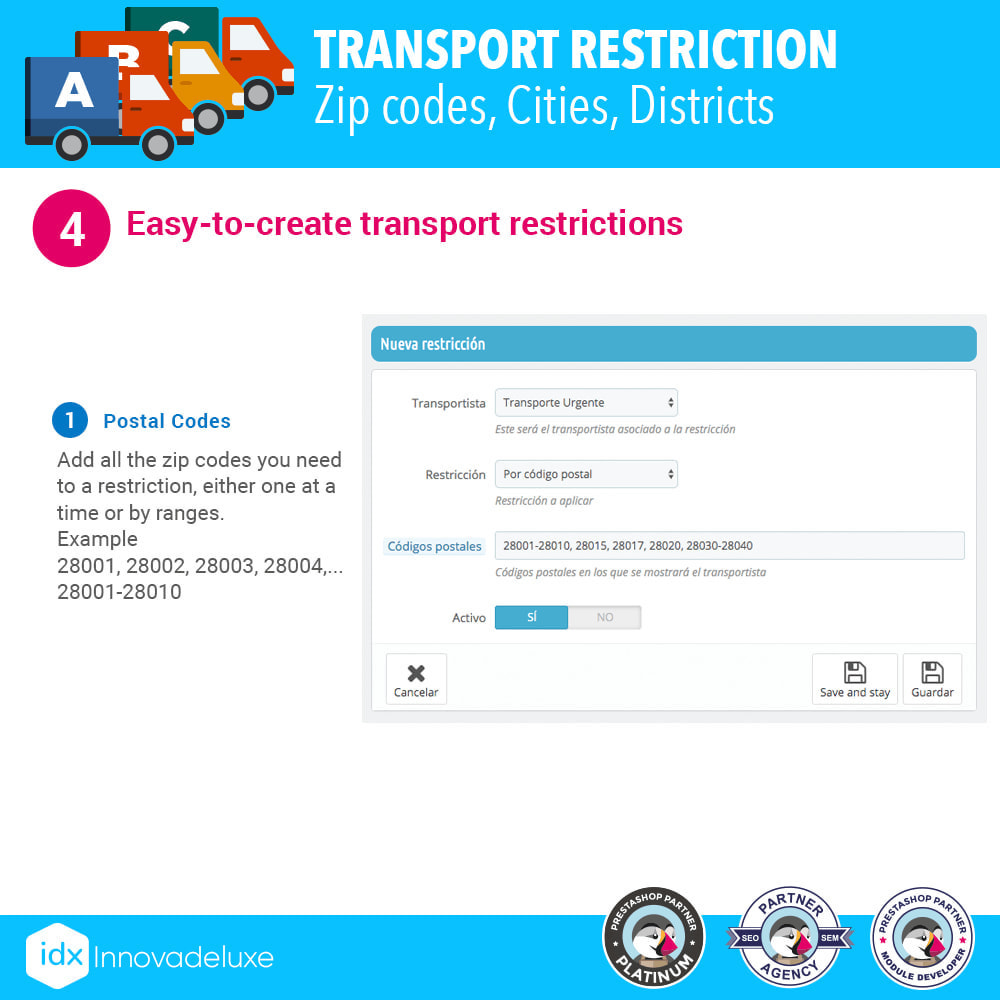 module - Transporteurs - Restricting Carriers by Zip Code, District, or City - 5