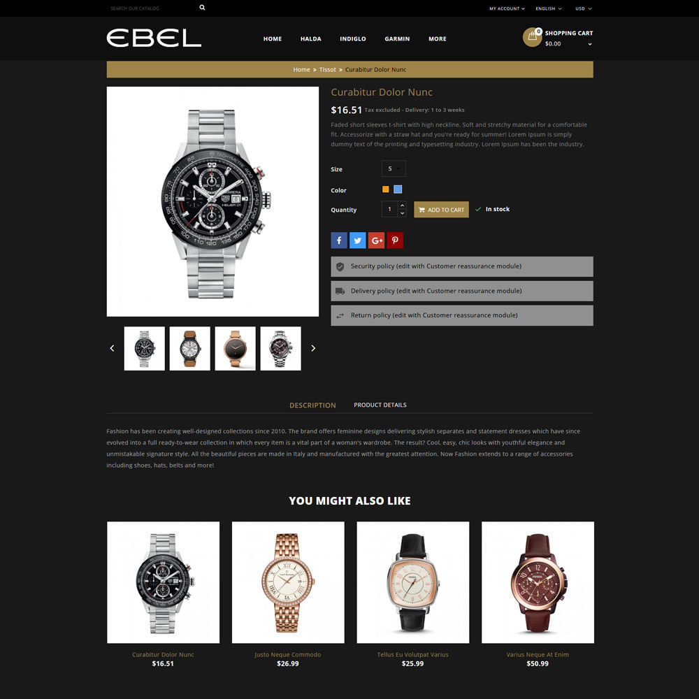 theme - Fashion & Shoes - Ebel Watch Store - 6