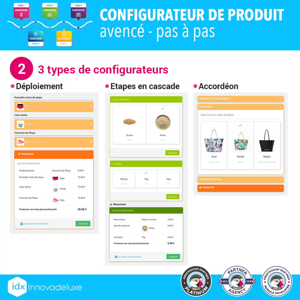 module - Déclinaisons & Personnalisation de produits - Configurateur de produit avancé - pas à pas - 3