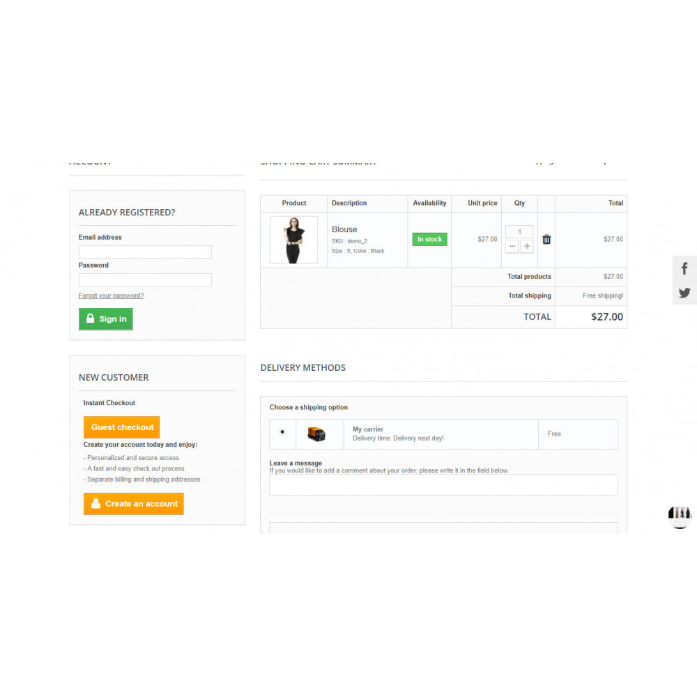 module - Proceso rápido de compra - One Page Checkout / One Step Checkout - Responsive - 3