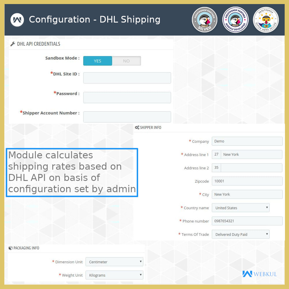 module - Vervoerder - DHL Shipping - API based delivery method - 4