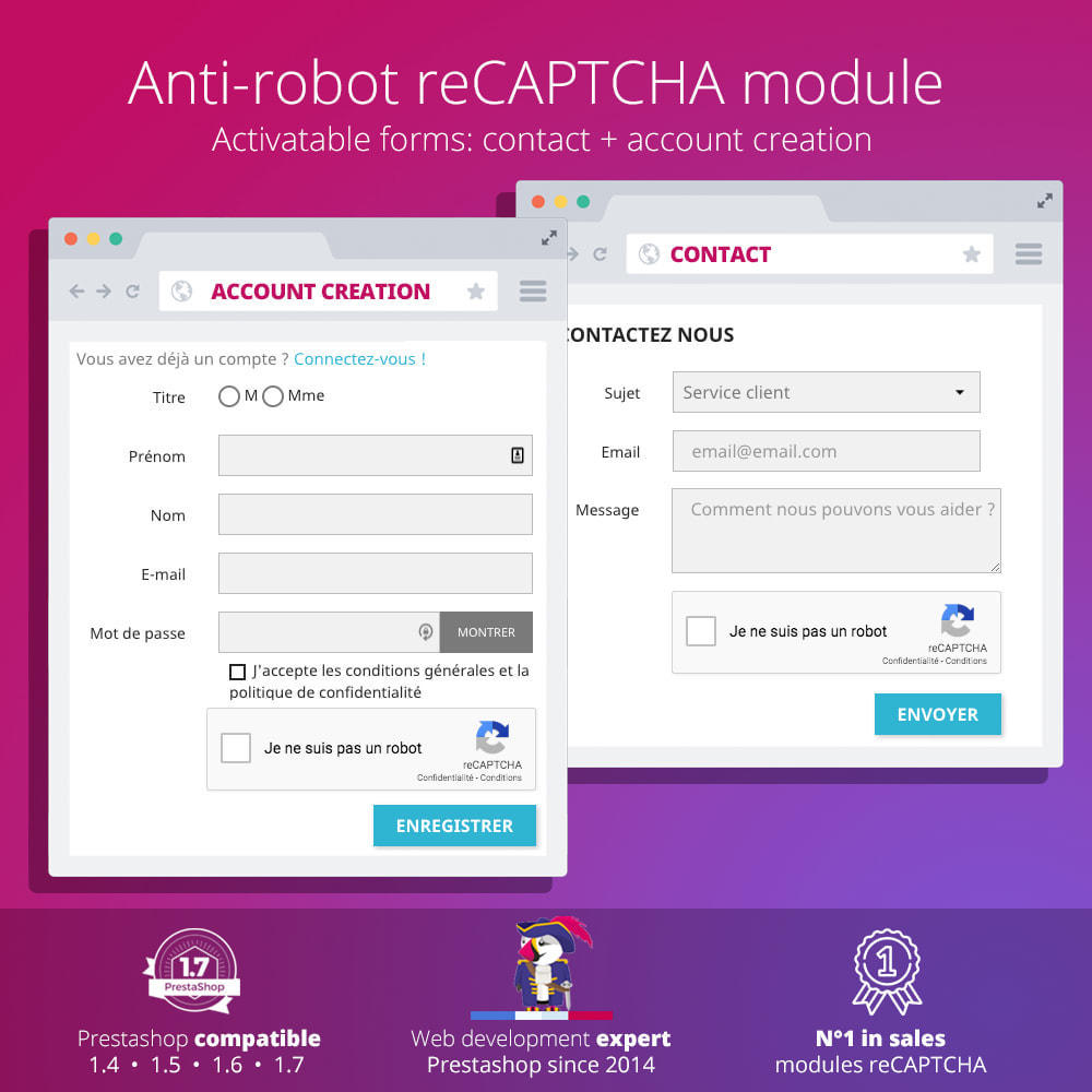 module - Безопасности и доступа - re Captcha - Anti Spam - recaptcha - anti fake accounts - 2