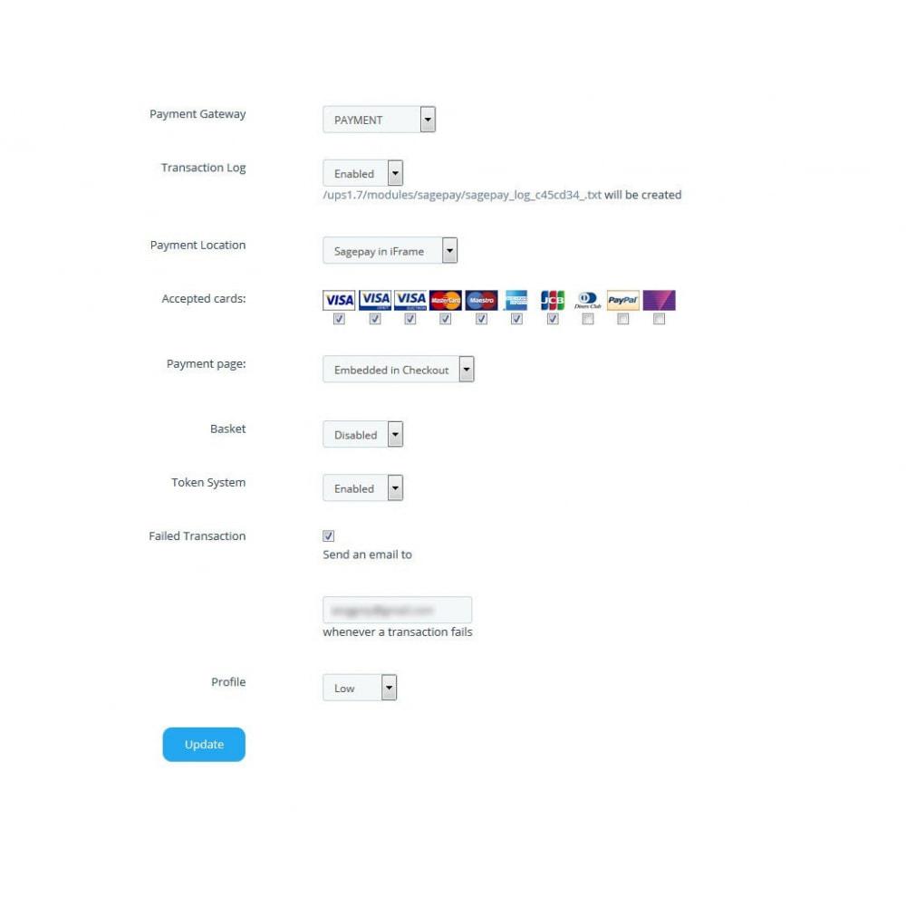 module - Оплата банковской картой или с помощью электронного кошелька - Sage Pay (Payment +Token System) - 5