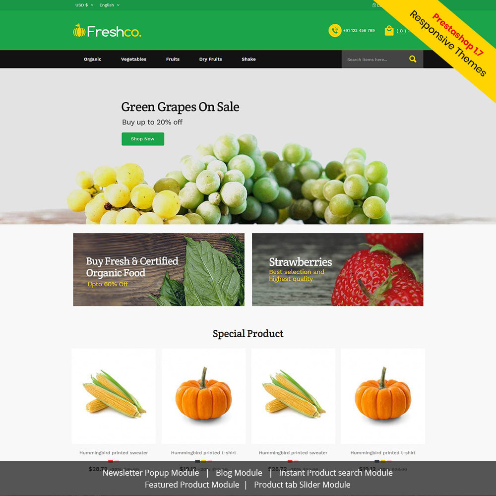 theme - Продовольствие и рестораны - Fresh Vegitables - Fruit Grocery Store - 1