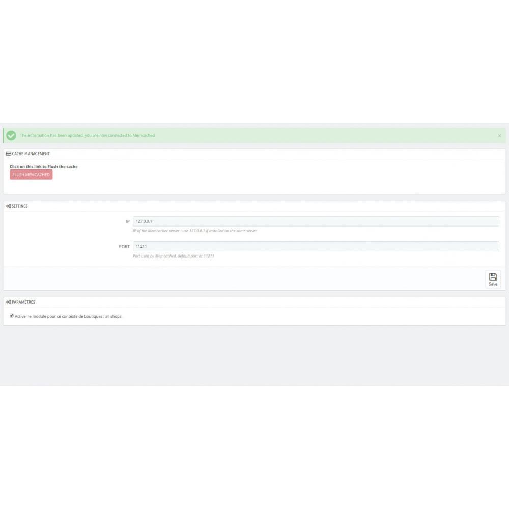 module - Website Performance - Flush memcached - 1