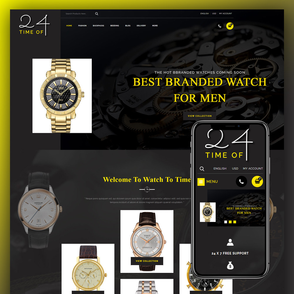 theme - Jewelry & Accessories - 24 Time of - Watch Store - 1