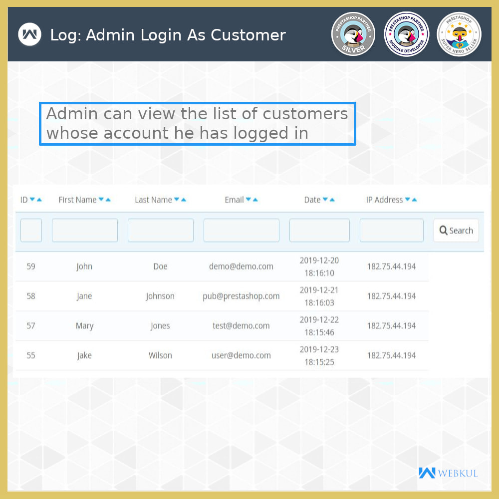 module - Customer Service - Admin Login as Customer | Access User Account - 1