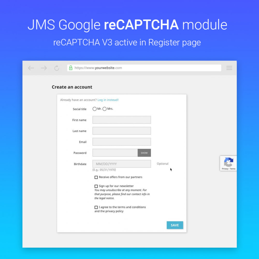 module - Sicherheit & Berechtigungen - JMS reCAPTCHA - Anti spam with invisible reCAPTCHA - 5