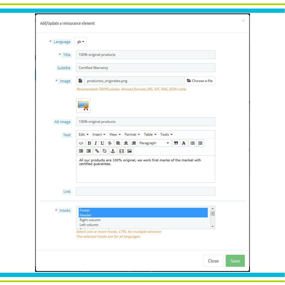 module - Personalizzazione pagine - Aggiungi elementi di fiducia multipli animati - Lottie - 5