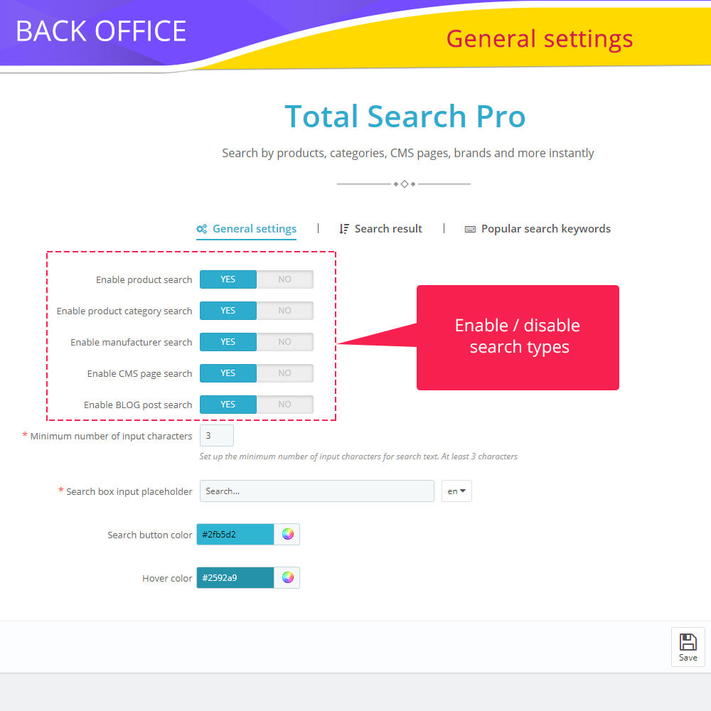 module - Zoeken & Filteren - Total Search Pro: products, categories, CMS and more - 3