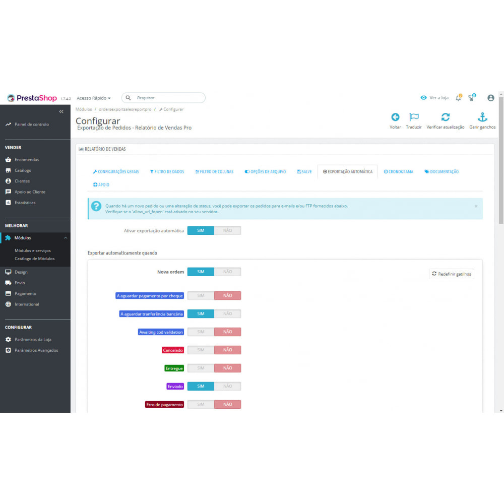 module - Importação & exportação de dados - Melhores Relatórios de Vendas e Exportações Contábeis - 8