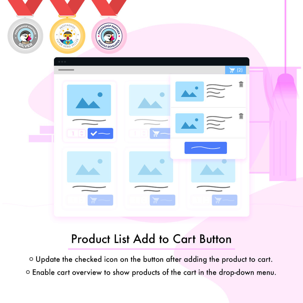 module - Zusatzinformationen & Produkt-Tabs - Product List Add to Cart Button | Cart Overview - 2