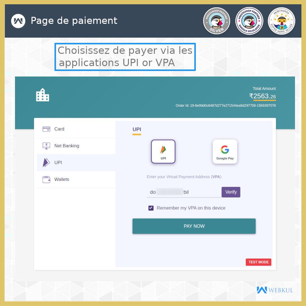 module - Paiement par Carte ou Wallet - Passerelle de paiement UPI - 5