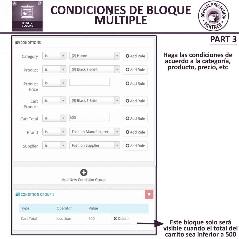 module - Bloques, Pestañas y Banners - Bloques estáticos, Añadir HTML, texto, bloques de medio - 9
