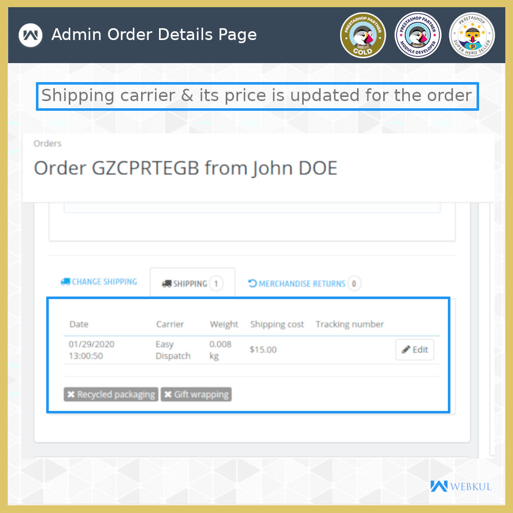 module - Shipping Carriers - Order Carrier Change - 7