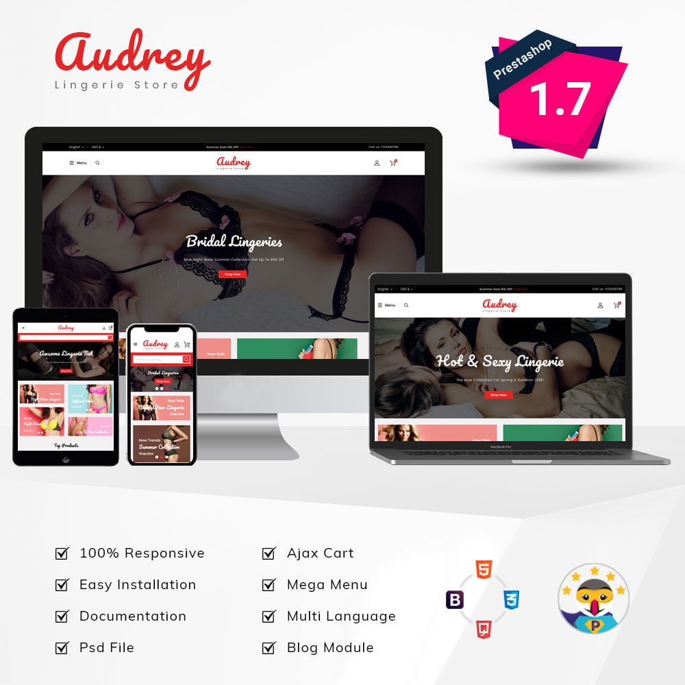 theme - Lingerie & Adulte - Audrey Lingerie Shop - 1