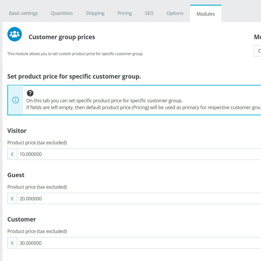 module - Prijsbeheer - Custom product price for specific customer groups - 1