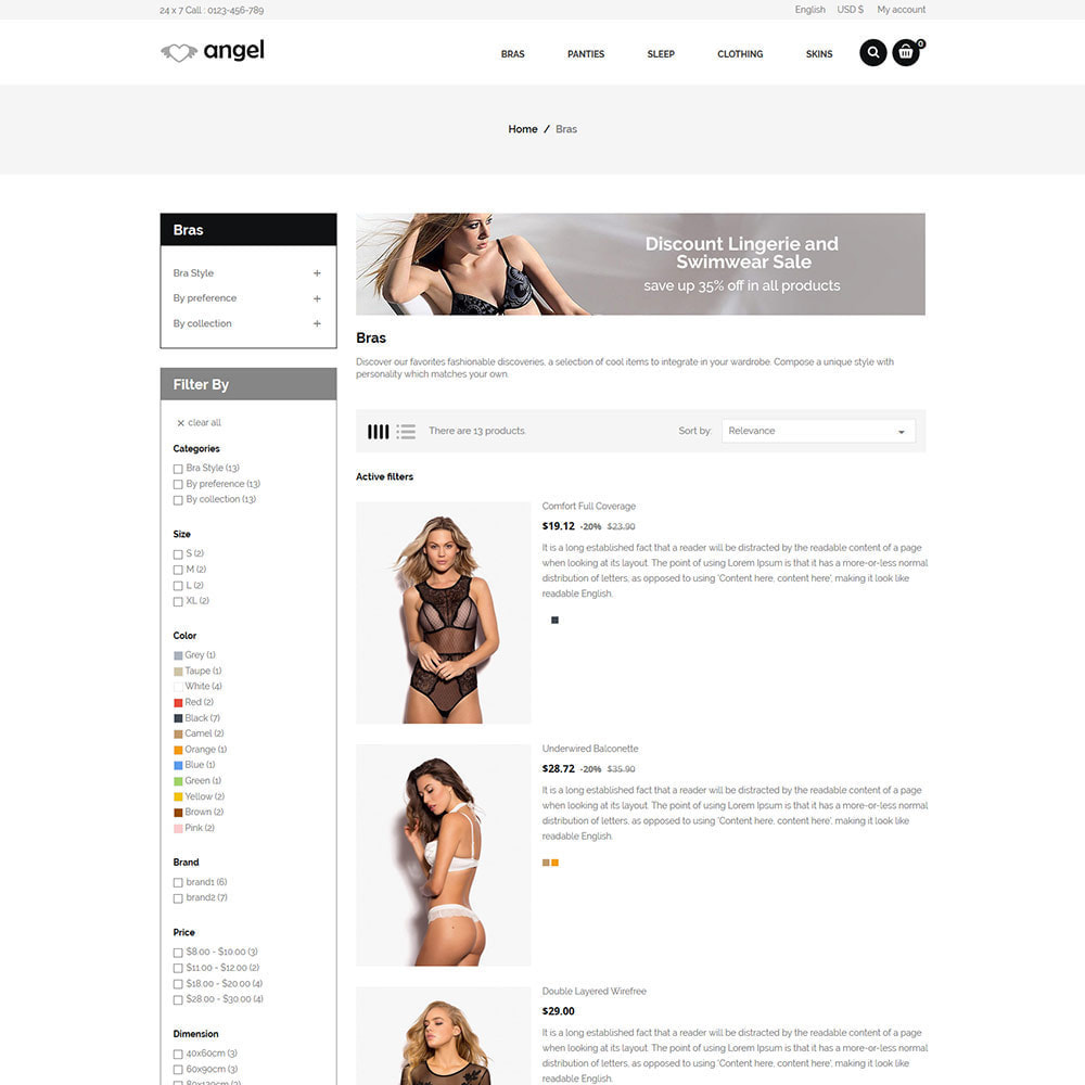 theme - Lingerie & Adult - Angle Bra  - Panties Women Underwear Adult Store - 4