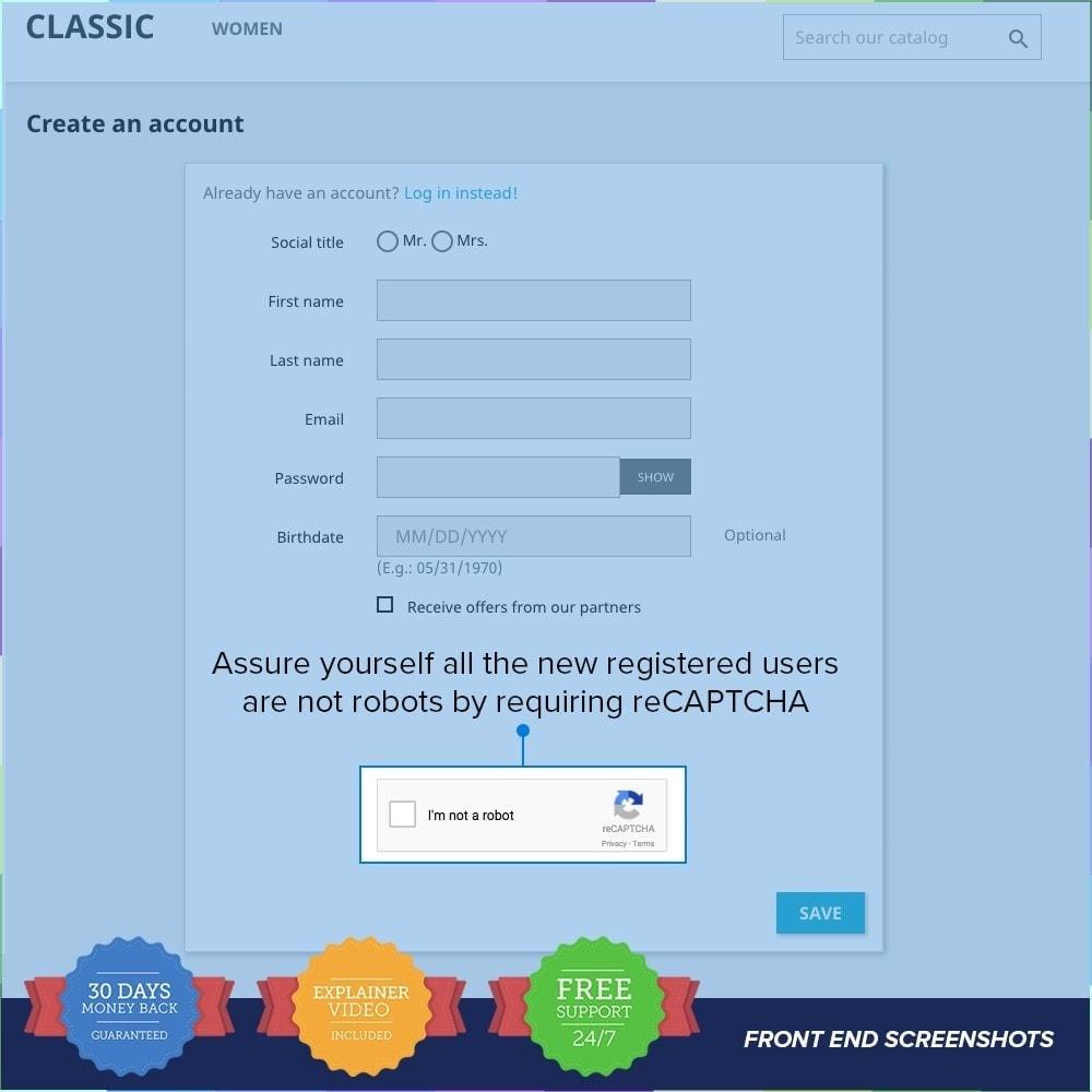 module - Sécurité & Accès - reCAPTCHA PRO - Simple - Sûr - 4